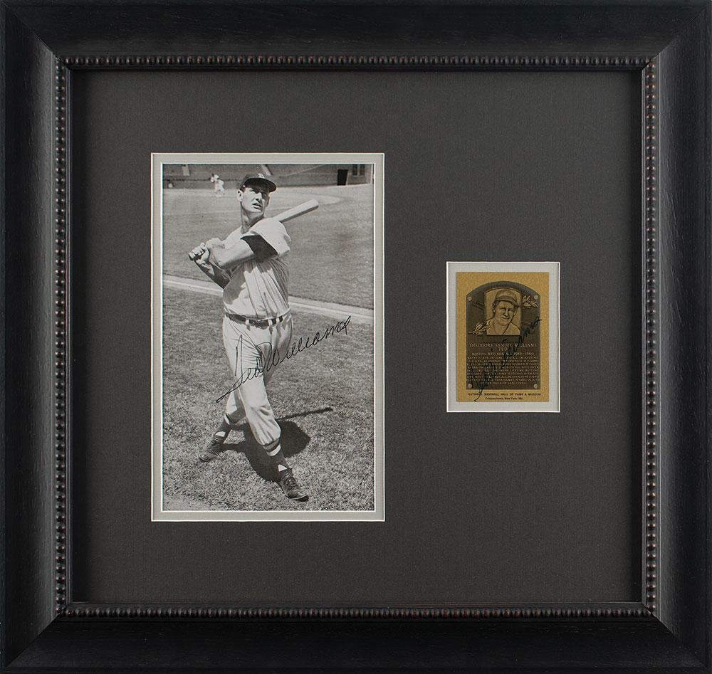 Ted Williams Signed Photograph and HOF Card