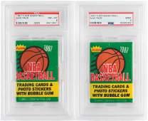 1987 Fleer Basketball Wax Packs (2) PSA NM-MT 8 and