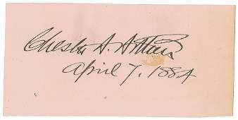 Chester A Arthur Signature