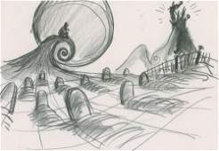 Henry Selick storyboard drawing from The Nightmare