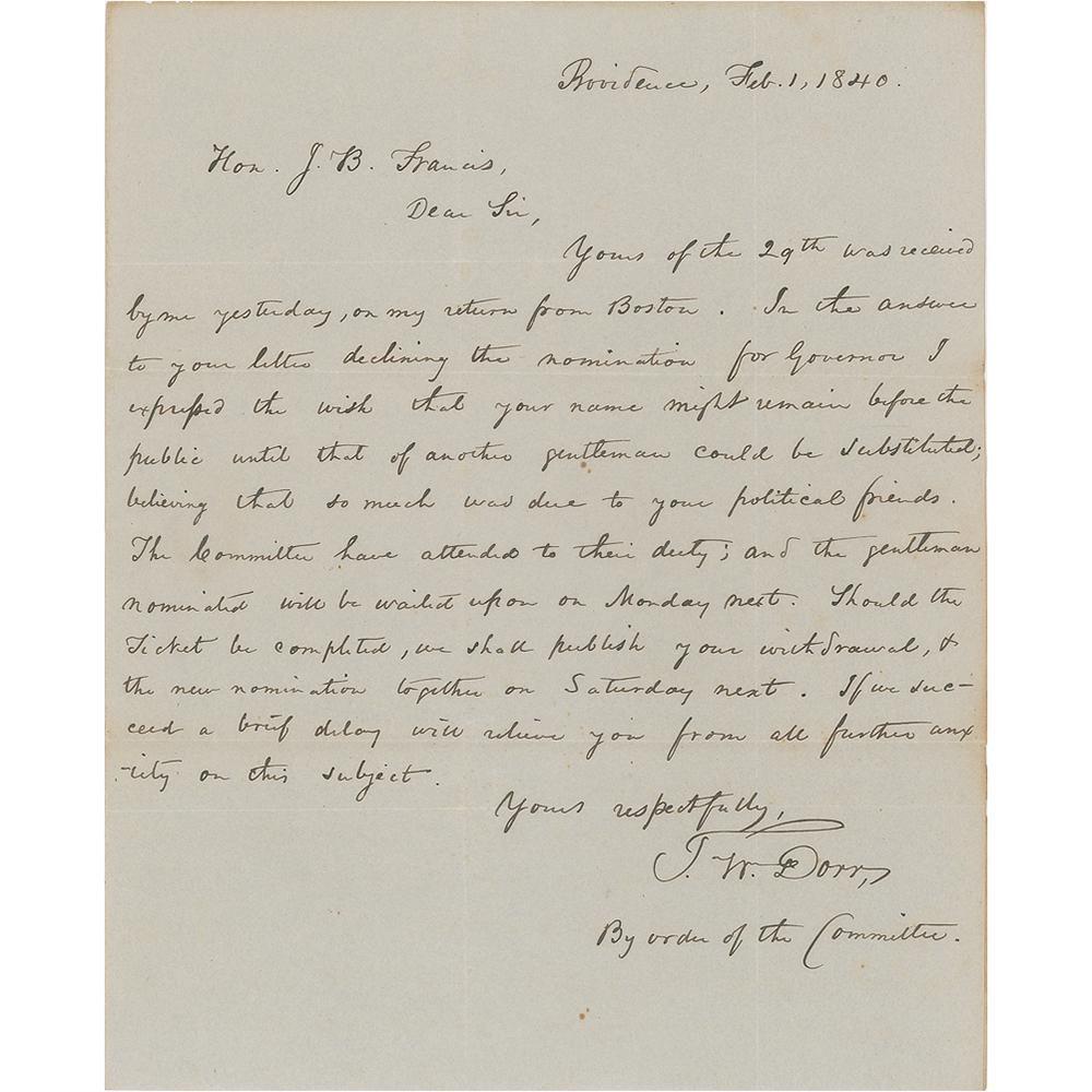Thomas Dorr Autograph Letter Signed