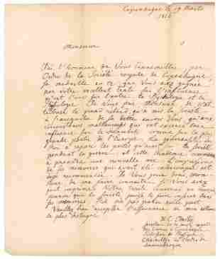 Hans Christian Orsted Autograph Letter Signed