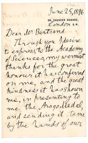 William Thomson, 1st Baron Kelvin Autograph Letter