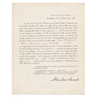 Abraham Lincoln Document Signed