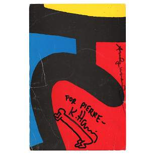 Keith Haring and Andy Warhol Signed Exhibition Card