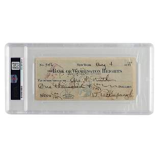 Babe Ruth and Roger Peckinpaugh Signed Check