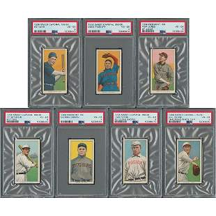 1909-11 T206 Lot of (7) with Hal Chase - Graded PSA