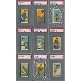 1909-11 T206 Lot of (9) - Graded PSA VG 3/VG+ 3.5