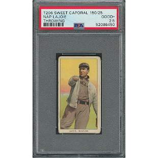 1909-11 T206 Sweet Caporal 150/25 Nap Lajoie (Throwing)