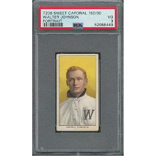 1909-11 T206 Sweet Caporal 150/30 Walter Johnson