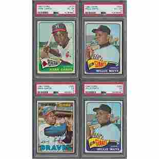 1965–1967 Topps Hank Aaron and Willie Mays Lot of (4)
