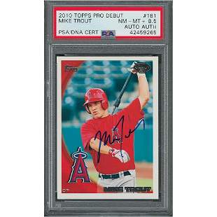 Topps 2010 #181 Mike Trout Signed PSA NM-MT+ 8.5