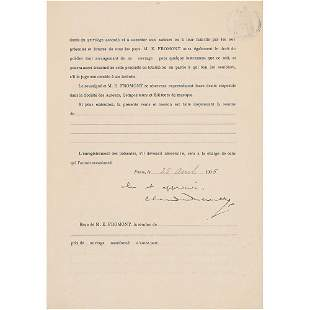 Claude Debussy Document Signed