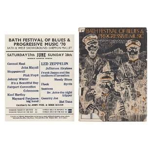 Led Zeppelin and Pink Floyd 1970 Bath Festival Handbill