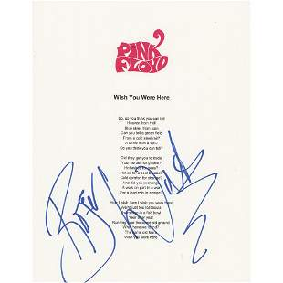 Pink Floyd: Roger Waters Signed Printed Lyrics for