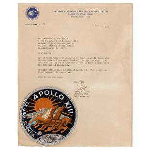 Apollo 13 Flown Patch and Typed Letter Signed by James