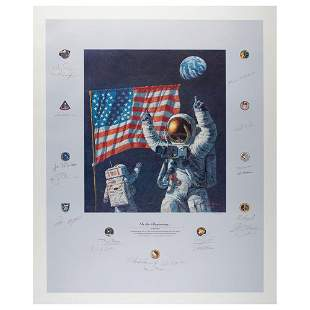 Al Worden's Multi-Signed 'In The Beginning' Lithograph
