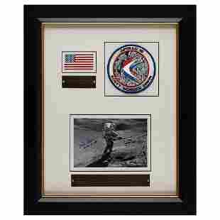 Dave Scott's Apollo 15 Flown/Lunar Landed Flag Display