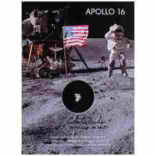 Apollo 16 Flown Netting Presentation Signed by Charlie
