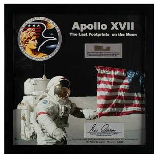 Apollo 17 Flown Heat Shield Display Signed by Gene