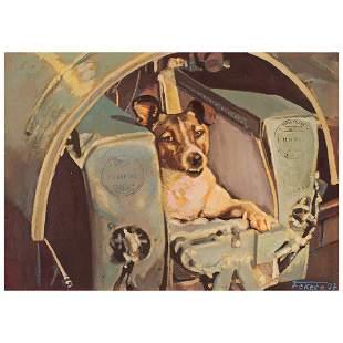Soyuz TMA-14/ISS Flown Painting by Jan Fekete: Laika