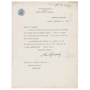 John F. Kennedy (2) Typed Letters Signed