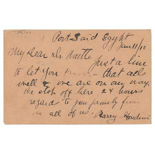 Harry Houdini Autograph Letter Signed