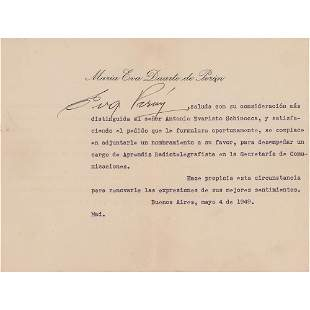 Eva Peron Typed Letter Signed