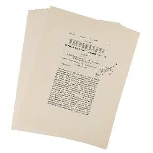 William Rehnquist Signed Souvenir Typescript