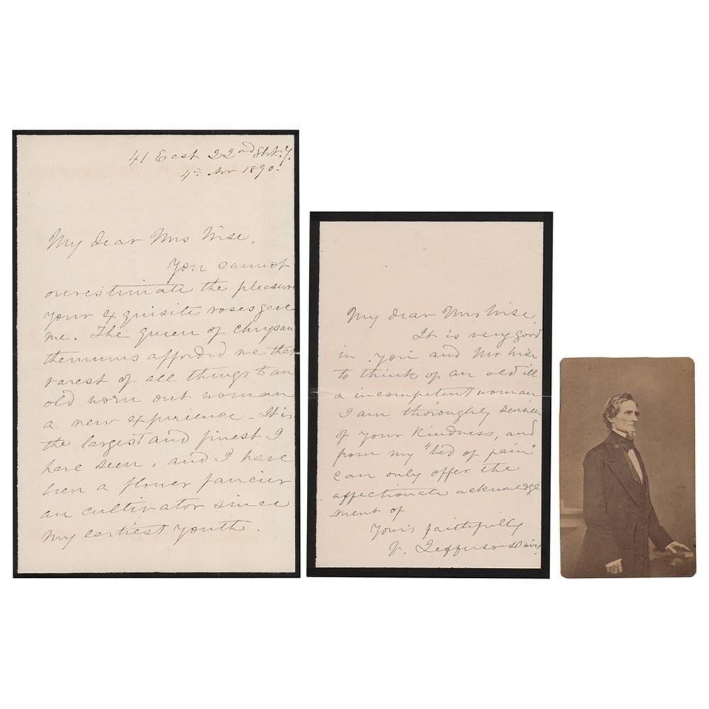 Varina Davis (2) Autograph Letters Signed