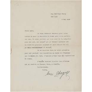 Marc Chagall Typed Letter Signed