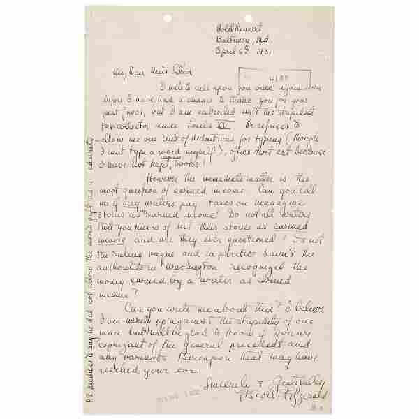 F. Scott Fitzgerald Autograph Letter Signed