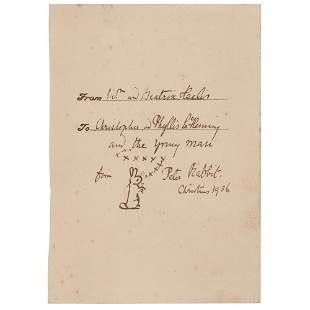 Beatrix Potter Signed Sketch of Peter Rabbit