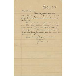 John Steinbeck Autograph Letter Signed