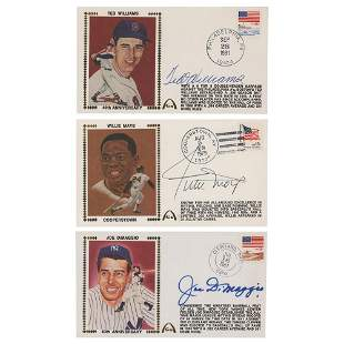 Joe DiMaggio, Ted Williams, and Willie Mays