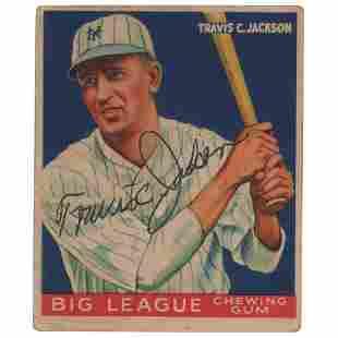 Travis Jackson Signed 1933 Goudey #102 Baseball Card