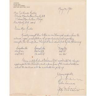 Beatles: John Lennon and Yoko Ono Document Signed