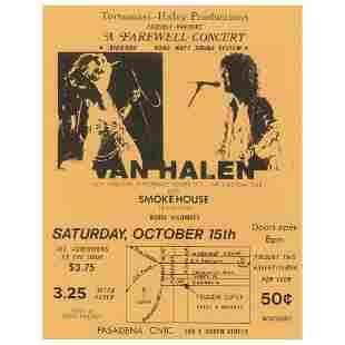 Van Halen 1977 Pasadena Handbill