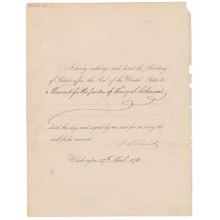 U. S. Grant Document Signed as President
