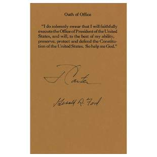 Jimmy Carter and Gerald Ford Signed Souvenir Oath of