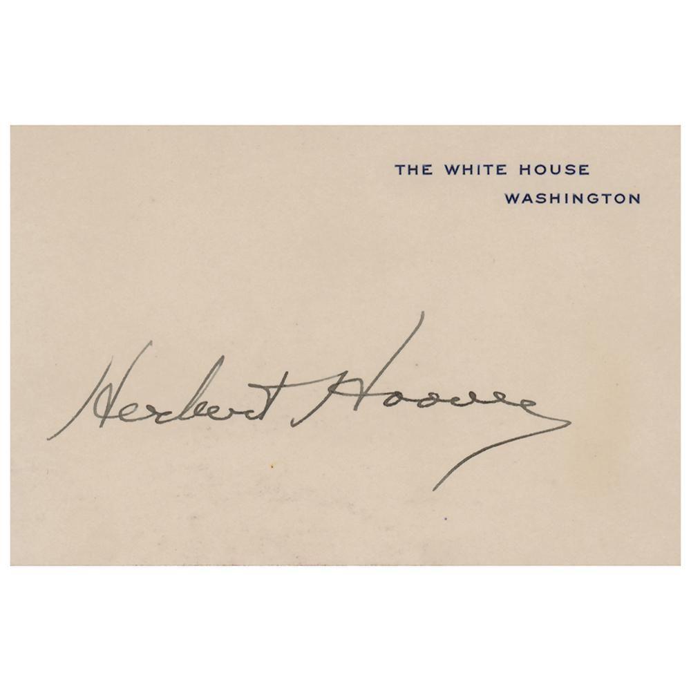 Herbert Hoover Signed White House Card as President