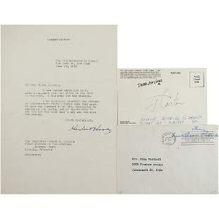 Hoover, Carter, and Roosevelt Signed Group Lot