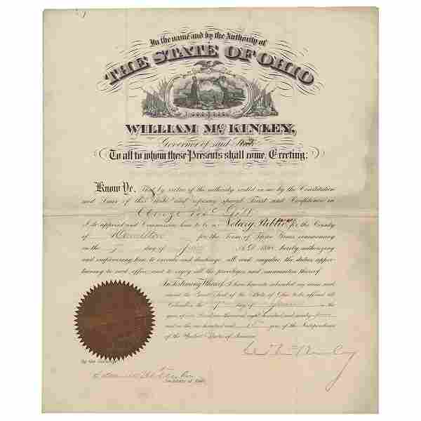 William McKinley Document Signed as President