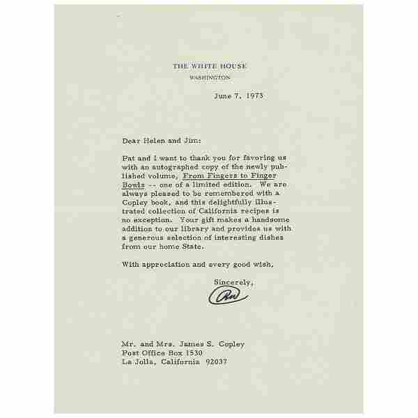 Richard Nixon Typed Letter Signed as President