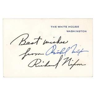Richard Nixon Signed White House Card