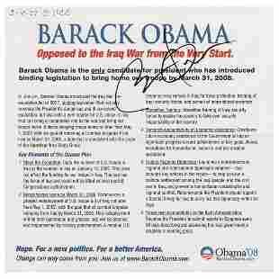 Barack Obama Signed Campaign Brochure