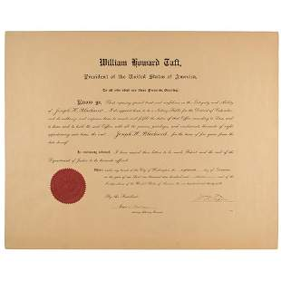 William H. Taft Document Signed as President