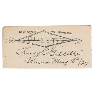 King Gillette Signed Sketch