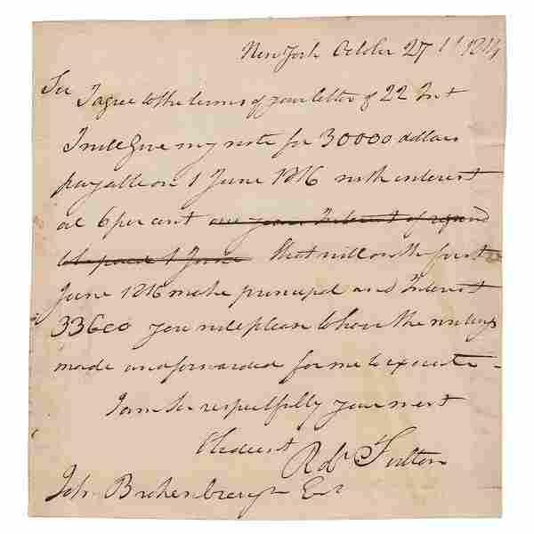 Robert Fulton Autograph Letter Signed