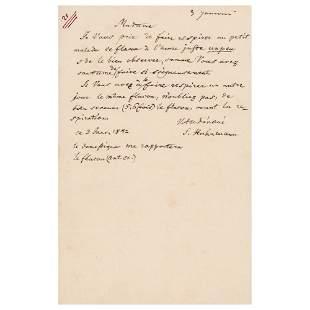 Samuel Hahnemann Autograph Letter Signed